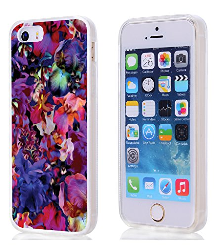Case for Phone SE & Cover for 5S & MUQR Replacement Skin Rubber Gel Silicone Slim Drop Proof Protection Protector Compatible with iPhone 5S/5/SE & Owesome Colorful Shiny Flower Petal