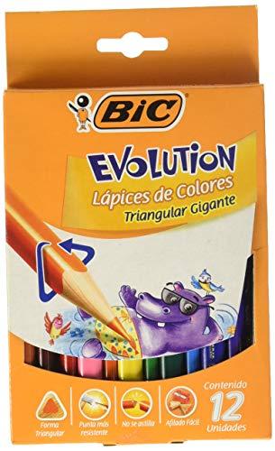 Lápis de Cor 12 cores triangular gigante Evolution 891853 Bic, BIC, 891853, Multicor, pacote de 12