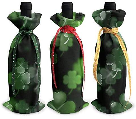 ワインバッグ クリスマスボトルカバー シャンパンワインボトル3本用 四つ葉のクローバー ワイン収納 ボトル装飾 ギフトバッグ ギフトパッケージ クリスマスデコレーショ ワインボトルワインバッグ ギフトバッグ シャンパンプロップ クリスマス用品 ディナーテーブル デコレーションク