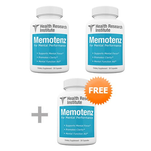 Memotenz Brain Function Supplement - 3pck - Brain Booster for Memory, Clarity and Focus - Mental Focus Nootropic -  Health Research Institute