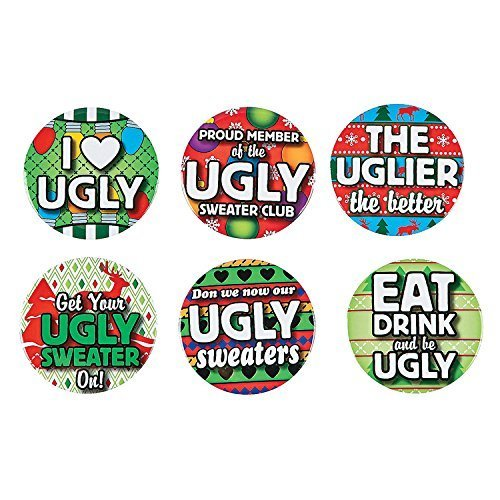 FE/OTC Christmas Party Ugly Sweater Contest Award Buttons Gag Gift 12 pc. Set]()