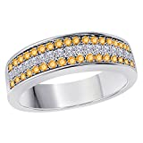 DreamJewels 6MM 14K White Gold FN Alloy 0.50CT Yellow Citrine & White Cz Diamond Ring 3 Row Pave Men's Hip Hop Anniversary Wedding Band Ring Size All Available