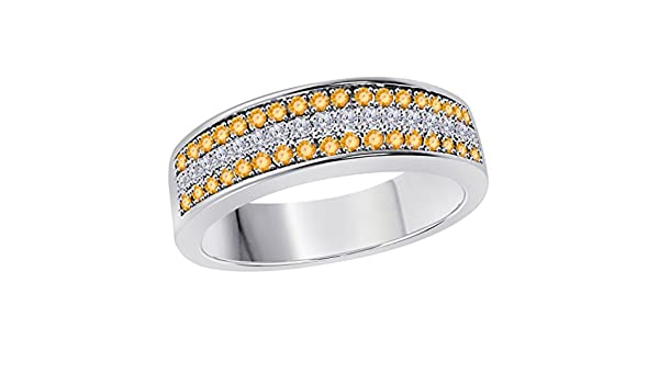 Silver Gems Factory 6MM 14K Rose Gold Plated 0.50CT Yellow Citrine /& White Cz Diamond Ring 3 Row Pave Half Eternity Mens Anniversary Wedding Band Ring