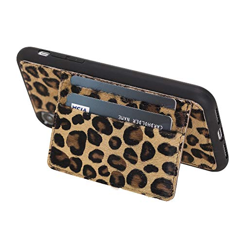 (Venito Pisa Leather Wallet Stand Case for iPhone XR, Snap-On Cover with a Magnetic Stand and Credit Card Slots | Slim and Lightweight | Handcrafted Premium Full Grain Leather (Furry Leopard))