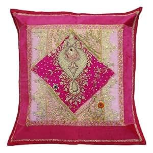 "Indian Caso Cojín tradicional Pink Inicio Dacor Patchwork Handmade cuadrados cubierta de almohadas de 17 "" pulgadas"