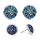 """925 Sterling Silver Natural Healing Agate Crystal Druzy Stone """"You and I"""" Couples Pairs Flat Round Stud Earring for Men and Women (Galaxy Blue Couple Set (8mm & 12mm))"""