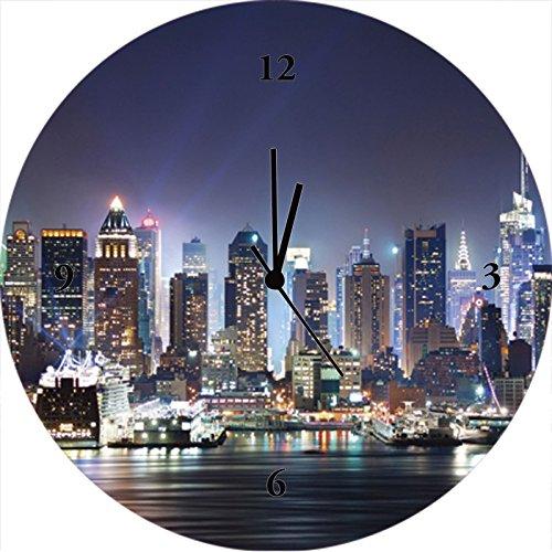 Artland Qualitätsuhren I Funk Wanduhr Designer Uhr Glas Funkuhr Größe: 35 Ø Amerika Newyork Blau H8GY