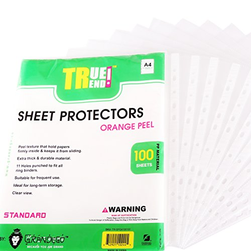TRUETREND Clear Standard Sheet Protectors | 11 Reinforced Binder Ready Holes – Great for Document Storage, Reports and Presentations – Orange Peel Texture + A4 Size, Pack of 100