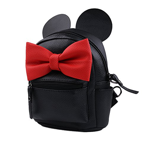 Noir Backpack noir Femme Big Cuir À Imperméable Sac Mini Pu Dos Multiusage Bowknot Oreilles qS11xa
