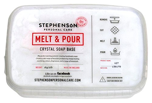 Stephenson Vegan and Kosher SLS-Free Glycerin Melt and Pour Soap Base, 2-Pound, White