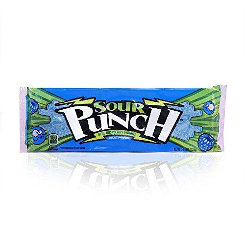 Sour Punch Blue Raspberry Sour Straws 4.5oz Tray (24 (Raspberry Punch)