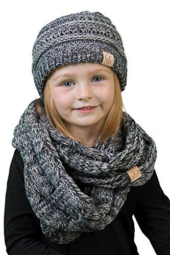 Price comparison product image K1-3847-816.21 Kids Scarf & NO Pom Beanie Matching Bundle Set - Grey/Black 4#31