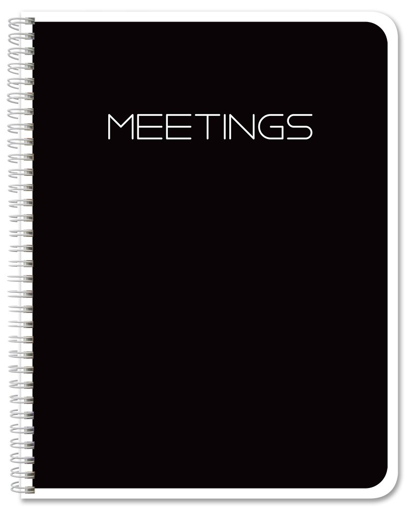 BookFactory Black Meeting Notebook/Meeting Book - 120 Pages (Ruled Format), 8.5'' x 11'', Wire-O Bound (MTG-120-7CW-A-(Meetings-K))