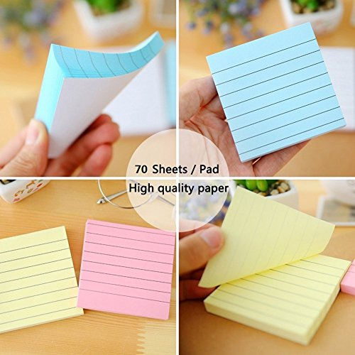 Sticky Notes Lined 3x3, 10 Pads/Pack, 70 Sheets/Pad, 5 Colors, Individually Package Colorful Self-Stick Notes for Home, Office by UDOIT (Image #3)'