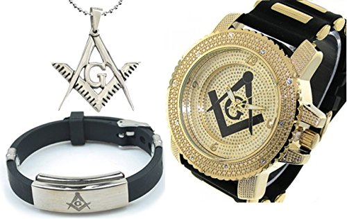 (3 Piece Jewelry Set - Freemason Pendant, Bracelet & Masonic Watch. Black Silicone Band Freemason Symbol Black & Gold Face Dial Watch )