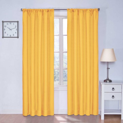 Black Single Draft King (Eclipse Kids 13303042X084MIM Microfiber 42-Inch by 84-Inch Room Darkening Single Window Curtain Panel, Mimosa)