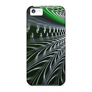 LJF phone case Snap-on Sphere Green Lines 3d Case Cover Skin Compatible With Iphone 5c