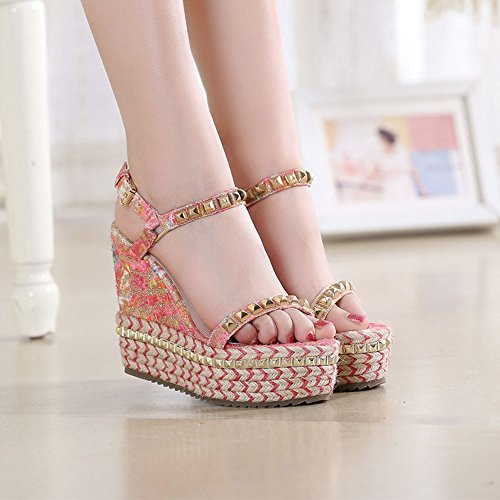 Sandals ZHIRONG Women's Summer Slope Fashion Waterproof Platform Rivet Printing Woven High Heels Bohemia Thick Bottom Beach Shoes 11CM (Color : EU36/UK3.5/CN35) Eu39/Uk6/Cn39 MdRkY