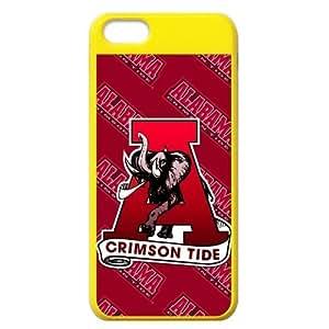 Generic Custom Extraordinary Best Design NCAA Alabama Crimson Tide Team Logo Plastic Yellow and Salmon Case Cover for iPhone5C