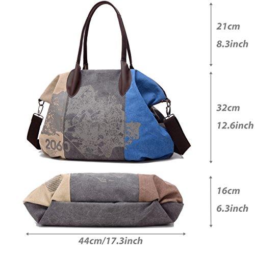 Bag Totes Ladies Canvas Hobo Handbag Blue Women's Shoulder SnAptAq