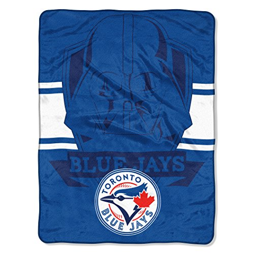 "Officially Licensed MLB Toronto Blue Jays Star Wars Cobranded ""Vader Shield"" Micro Raschel Throw Blanket, 46"" x 60"""