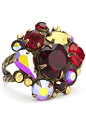 "Sorrelli ""Ruby Cocktail"" Multi-Cut Red and Gold Crystal Cluster Cocktail Adjustable Ring"