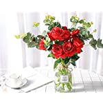Luyue-Artificial-Silk-Rose-Flower-Bouquet-Wedding-Party-Home-Decor-Pack-of-10-Style-1-Red