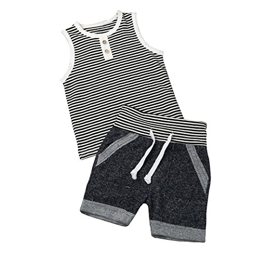 Baby Boys Girls Clothes,Efaster Infant Stripe T Shirt Tops Shorts Pants Outfits (12M)