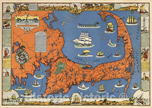 Historic Map | Cape Cod, Barnstable County, Mass. Inc. 1639. Drawn by C.W. Holliday 1937 | Vintage Wall Art | 36in x 24in
