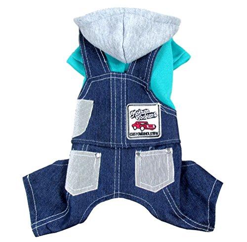 SELMAI Small Dog Denim Overalls Four Legged Jumpsuit 2 Pieces Outfits Hoodies Coat Fleece Cat Puppy Apparel Blue