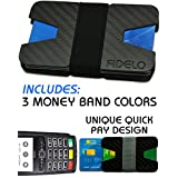 FIDELO Carbon Fiber Wallet Slim Minimalist Front Pocket Wallets & Money Clip Band