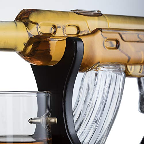 Gun Large Decanter Set Bullet Glasses - Elegant Rifle Gun Whiskey Decanter 22.5'' 1000ml With 4 Bullet Whiskey Glasses and Mohogany Wooden Base By The Wine Savant by The Wine Savant (Image #3)