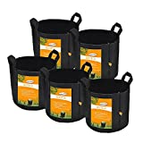 Set of 5 Pack 7 Gallons Grow Bags by Sonice,Aeration Fabric Pots With Handles