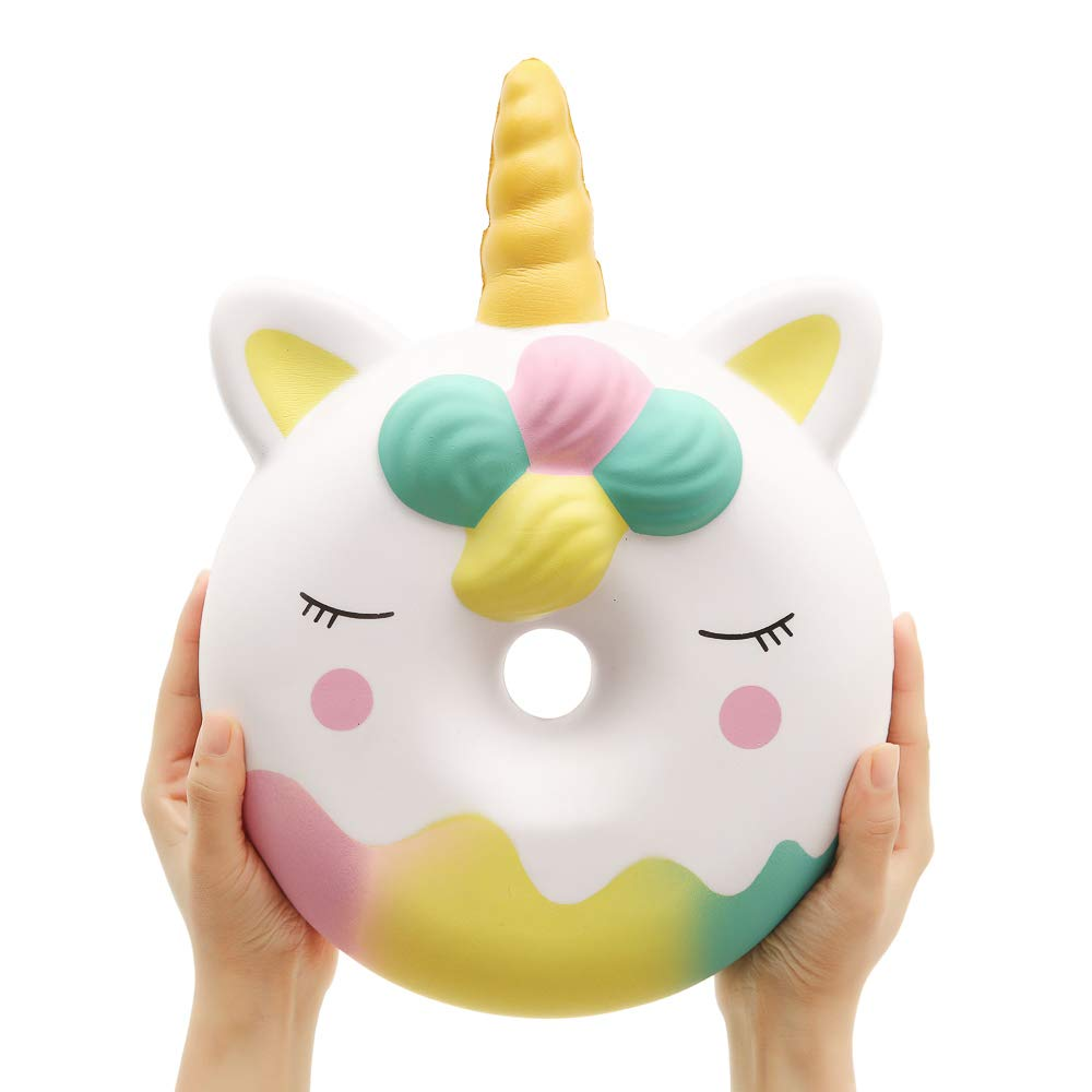 Anboor 13 Inches Squishies Jumbo Unicorn Donut Kawaii Soft Slow Rising Scented Giant Doughnut Squishies Stress Relief Kid Toys