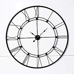 Decorlives 40 inch Black Color Live Huge Roman Wall Clock Handmade Wall Sculpture Art