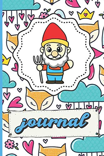Garden Gnome Journal: Fox Crowns Roses Clouds Flowers Hearts Patter Background Notebook for Writing, Sketching, Drawing and Note Taking. Perfect Gift For Kids Parents And Adults