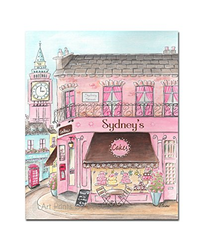 London Cake Shop Large Wrapped Canvas, Choose Girl's Name For Shop & Street Sign