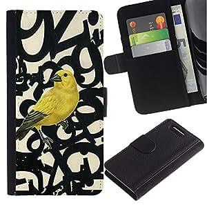 UberTech / Sony Xperia Z1 Compact D5503 / Yellow Bird Letters Numbers Text Beige / Cuero PU Delgado caso Billetera cubierta Shell Armor Funda Case Cover Wallet Credit Card