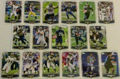 2014 Topps Football St. Louis Rams Conspire Set In a Protective Case - 17 cards including Michael Sam RC, Tre Mason RC, Aaron Donald RC, Greg Robinson RC, Marcus Roberson RC, Johnny Hekker, Jake Lengthy, Robert Quinn, Chris Givens, Zac Stacy, Daryl Richar