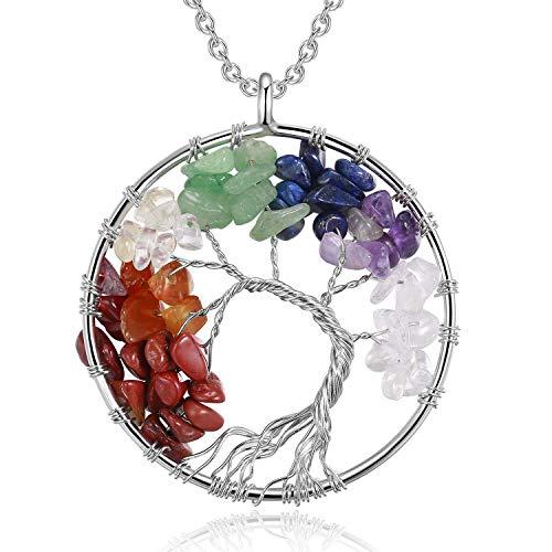 COLE.LOVE Tree of Life Pendant Quartz Crystal Gemstone Chakra Necklace