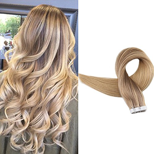 Full Shine 20inch Remy Tape Hair Extensions Seamless Hair Ombre Color #10 Fading to #16 Highlighted The Balayage Ombre Tape in Extensions Real Human Hair 20 Pcs 50gram Per Package ()