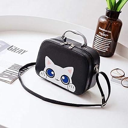 733deb69bd45 Amazon.com: Autumn Water Cartoon Cute Cat Lady Makeup Bag PU ...