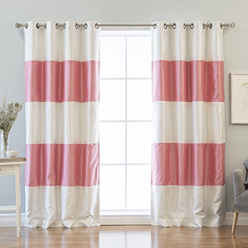 Best Home Fashion Striped Dupioni Faux Silk Blackout Curtain - Antique Bronze Grommet Top  - Pink - 52