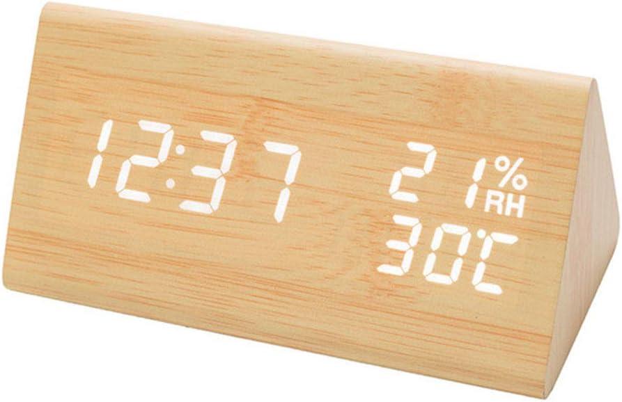 GreenCC Reloj Despertador Digital, Reloj Despertador electrónico con Control de Voz Inteligente de Madera con Brillo Ajustable para decoración de Oficina y Dormitorio