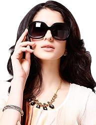 Maxchic Women's Polarized Sunglasses Acetate Sleek Summer Sunnies MCG8104,Black