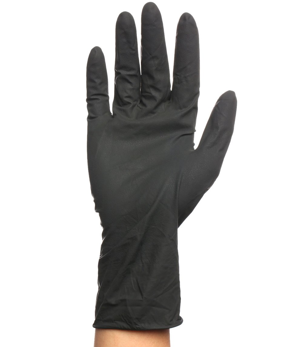 Black Reusable Latex Gloves, Salon Hair Color Dye Gloves-Medium size (Pack of 10) by Perfehair (Image #2)