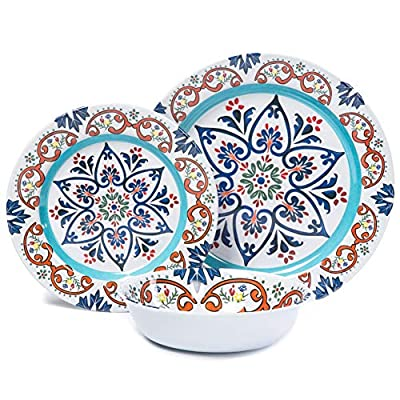 Melamine Dinnerware Set for 4-12 Pcs Melamine Dinner Dishes Set for 4, Camping RVing Use, Break-resistant, Dishwasher Safe - 👉👉 This melamine dinnerware set for 4 includes: 4 pcs 7 inch bowl, 20 Ounce, 4 pcs 8 inch salad plates, 4 pcs 10 inch dinner plates. 👉👉 This rustic dinnerware set for 4 suit for any outdoor and indoor activities, Such as RV, CAMPING, MOTORHOME, TRAILER, PATIO,SAILBOAT etc. You will like it when you get it. 👉👉 Light weight, unbreakable and BPA Free, FDA passed. Bowl is good size for salad or cereal and really good for ice cream sundaes! Plates are perfect for dinner, dessert, pasta, appetizer. - kitchen-tabletop, kitchen-dining-room, dinnerware-sets - 51FsI5wbbXL. SS400  -