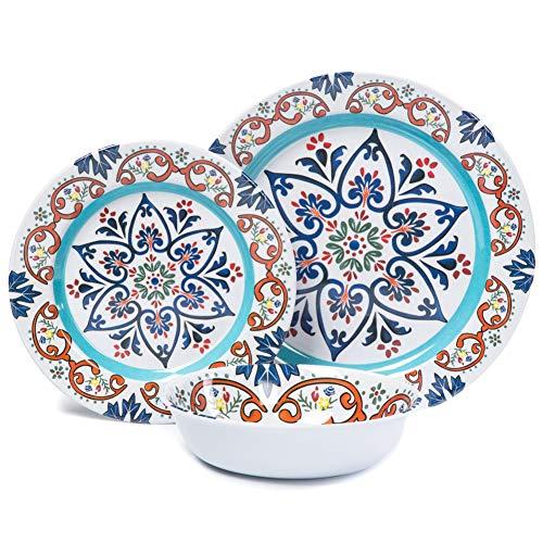 Dinnerware Set For 4-12 Pcs Melamine Dinner Plates Set for C
