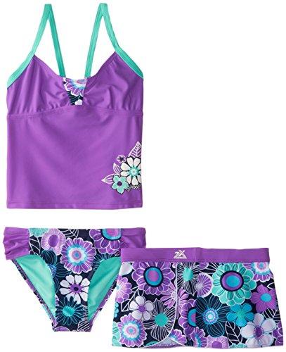 ZeroXposur Big Girls' Nosey Posey 2 Piece Swim with Skirt, Orchid, 10