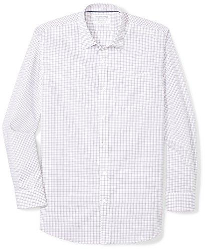 Fit Tattersall Cotton - Amazon Essentials Men's Regular-Fit Wrinkle-Resistant Long-Sleeve Plaid Dress Shirt, Purple Tattersall, 14.5